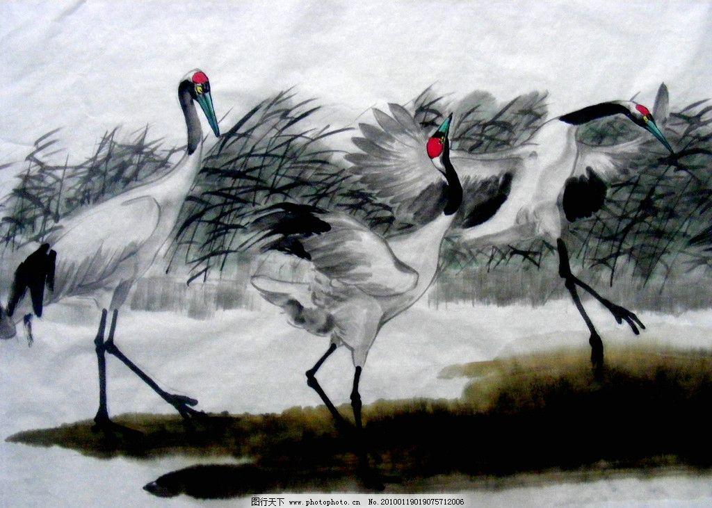 翩翩起舞 工笔 国画 绘画 古典 丹顶鹤 写意 中国风