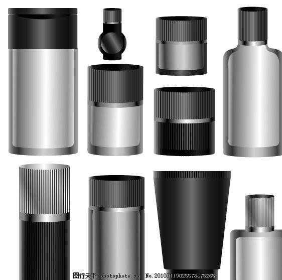 空白瓶子矢量素材 包装 化妆品 汽水罐