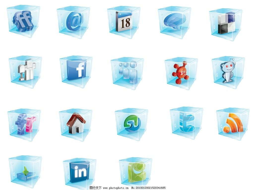 图标 蓝色 按钮      邮件 矢量素材 冰 冰块 数字 房子 字母 其他