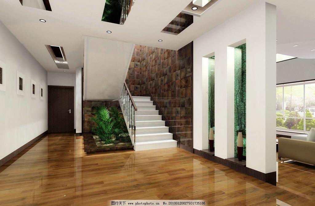 别墅木地板走廊图片