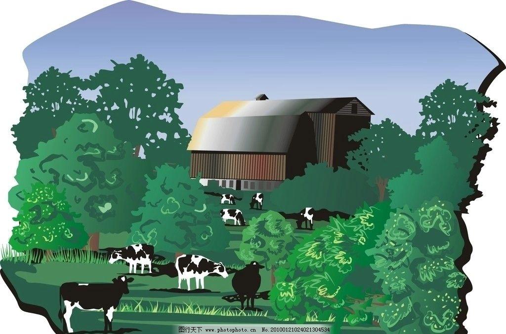 美丽的风景 矢量风景图片,树 农场 牧场 房屋 田园-图