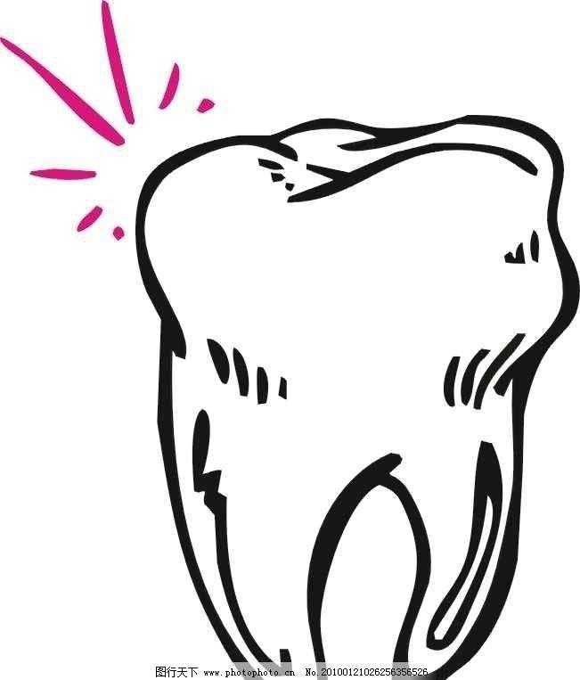 牙齿吃东西手绘
