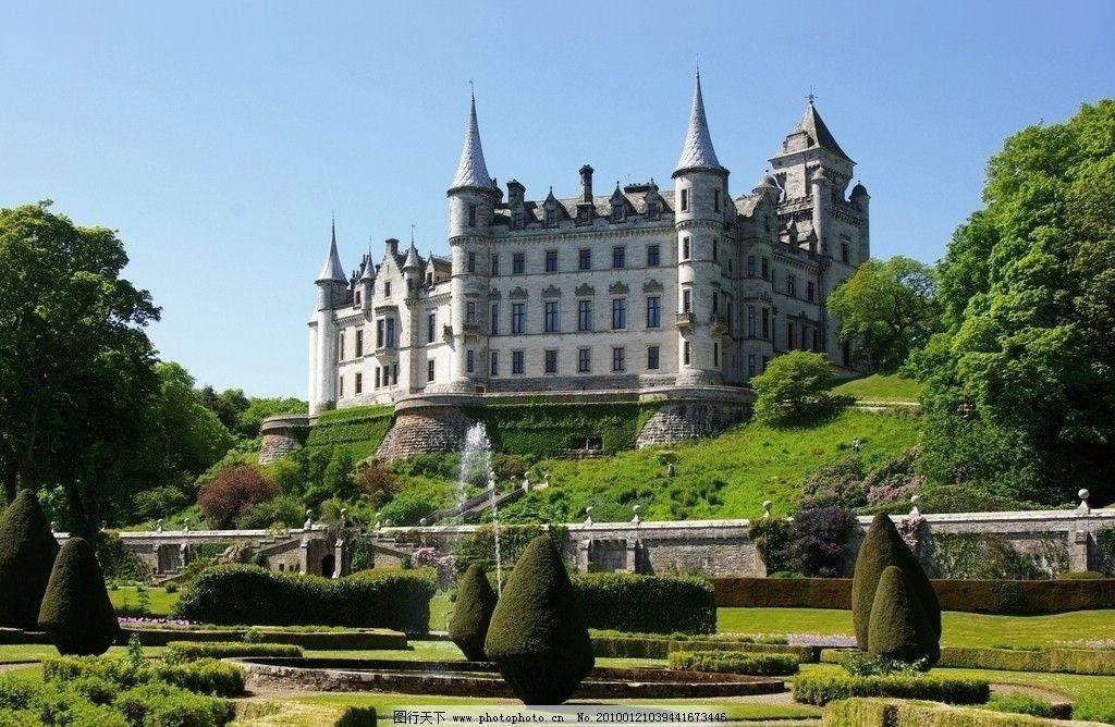 欧式城堡 草坪 树木图片