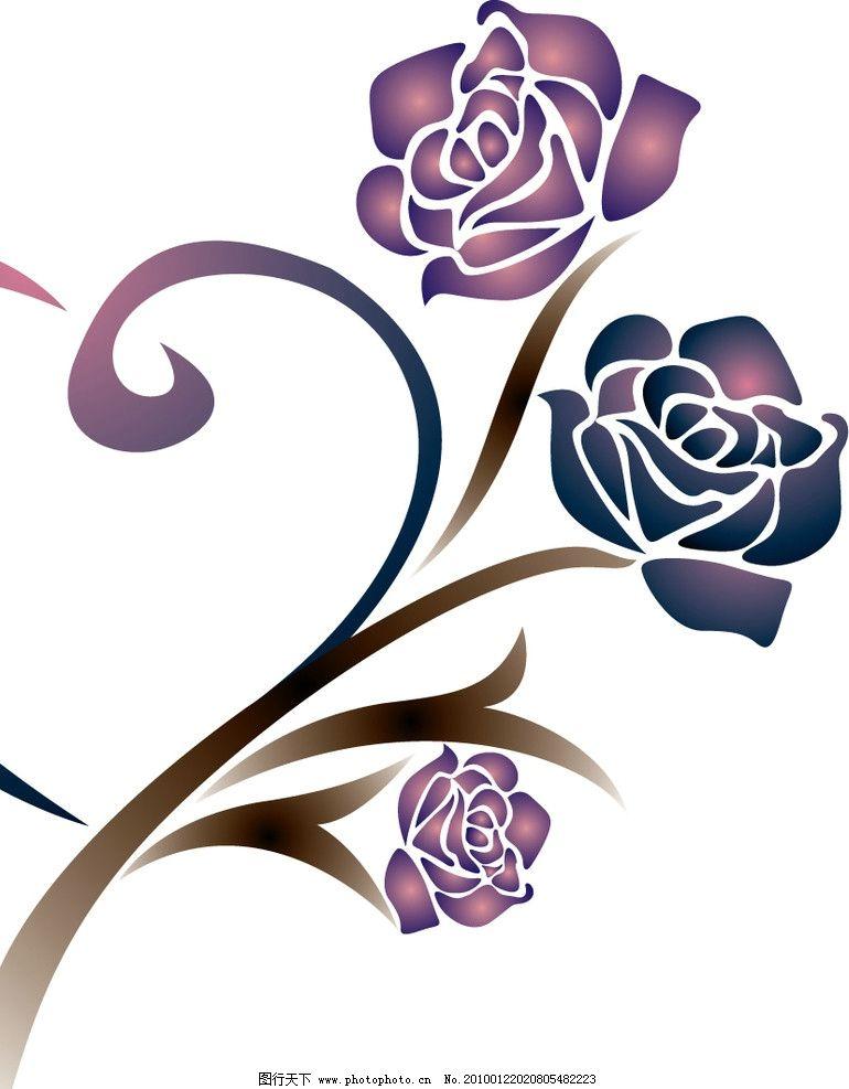 紫色玫瑰 花边 花纹 线条鲜花