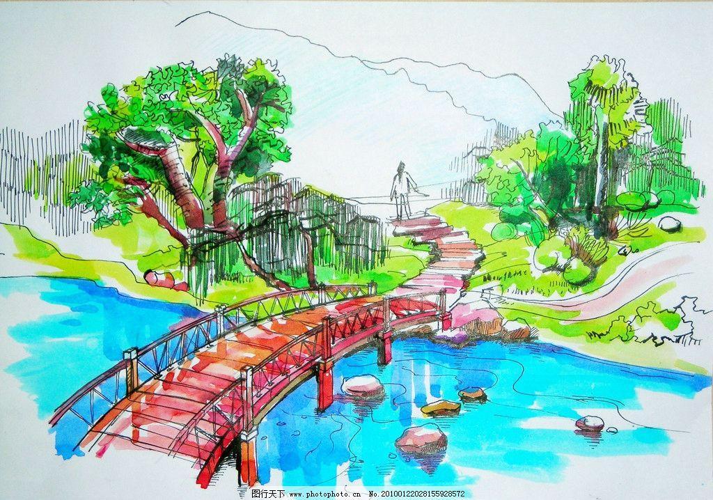 公园景观 景观手绘