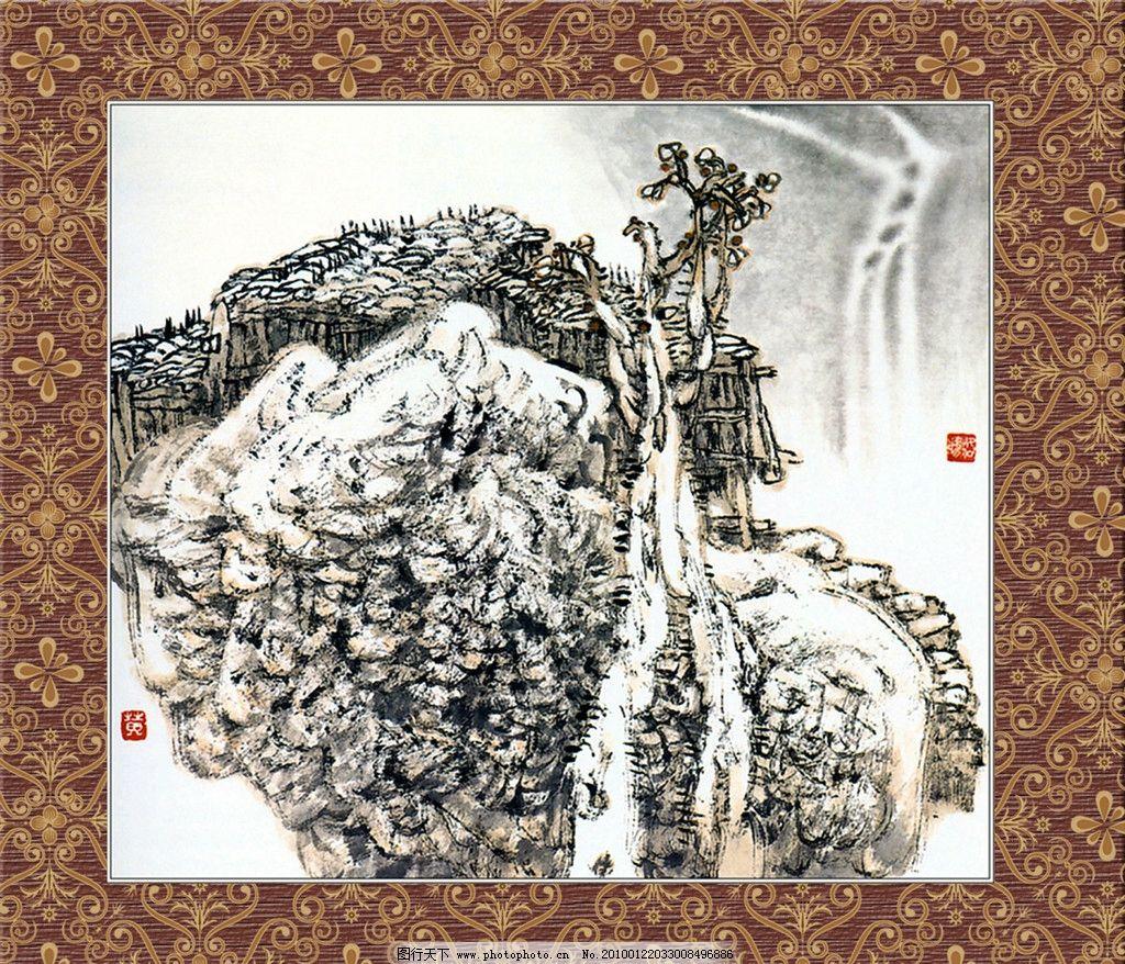 国画精品 边框 画框 底纹 丹青 山水 源文件