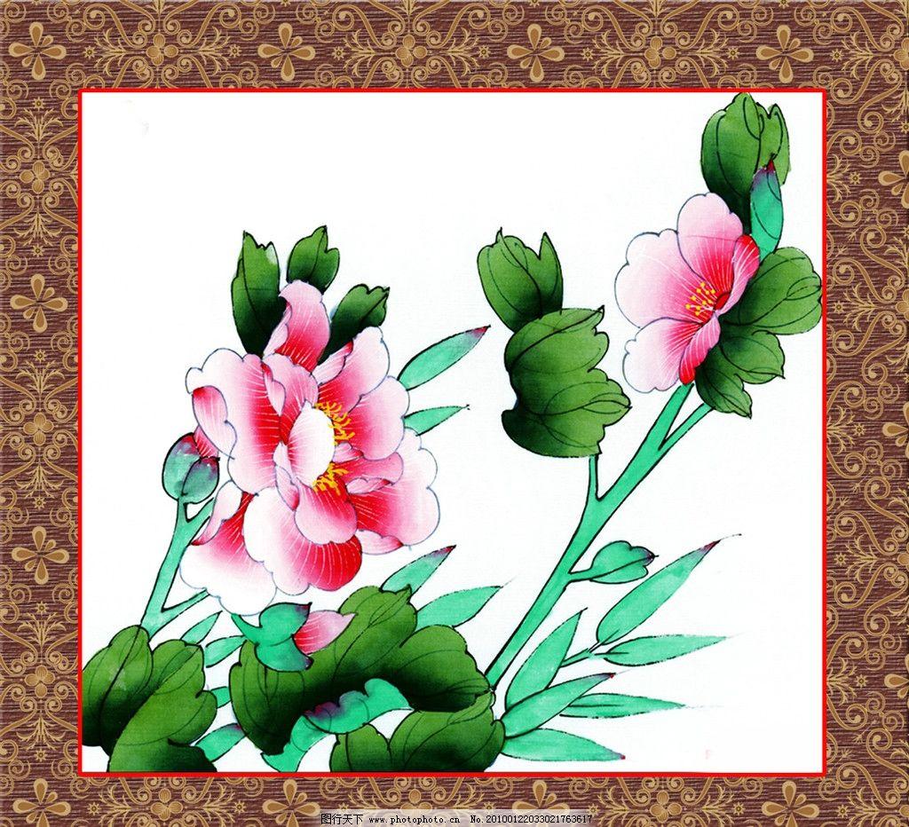 国画精品 边框 画框 底纹 丹青 花鸟 花朵 枝叶 源文件