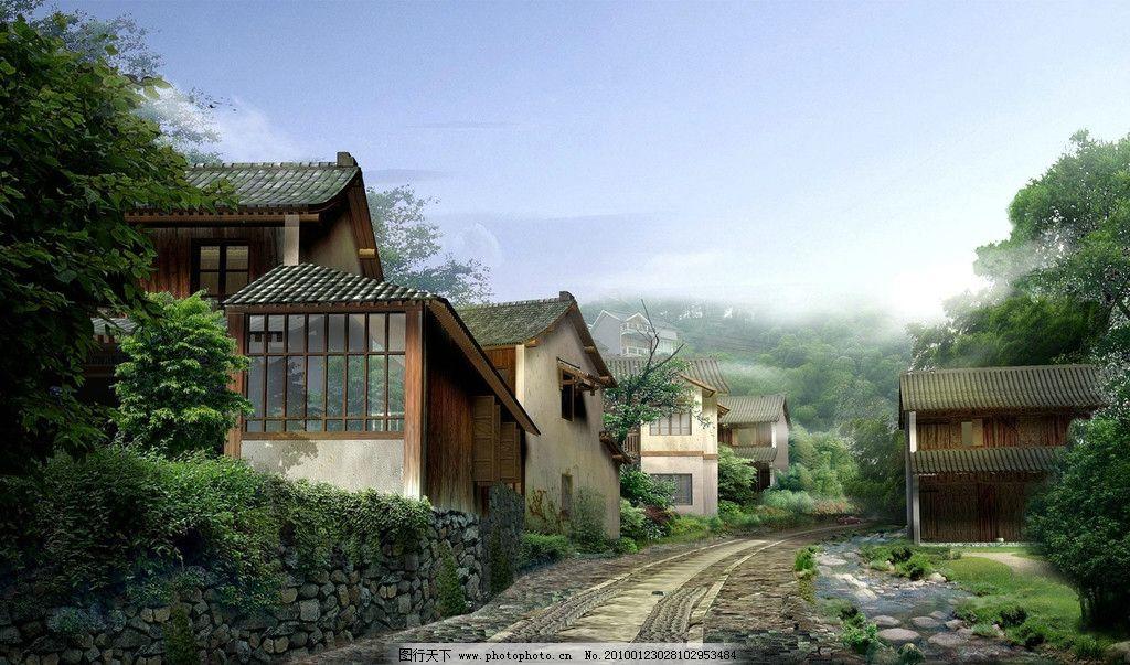 乡间小路 道路 石子路 建筑 房屋 植物 植被 木屋 山 远山