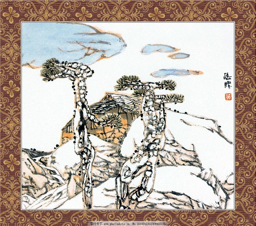 国画精品 边框 画框 底纹 丹青 花鸟 源文件