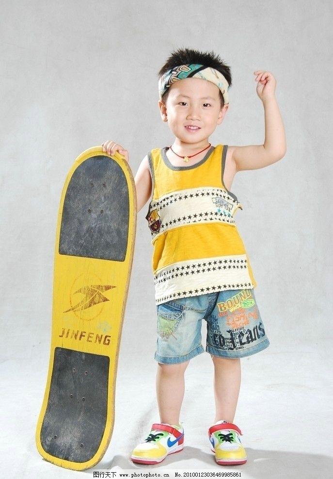 儿童幼儿 可爱宝贝 小男孩 滑板 拿着滑板的小男孩 时尚男孩 摄影