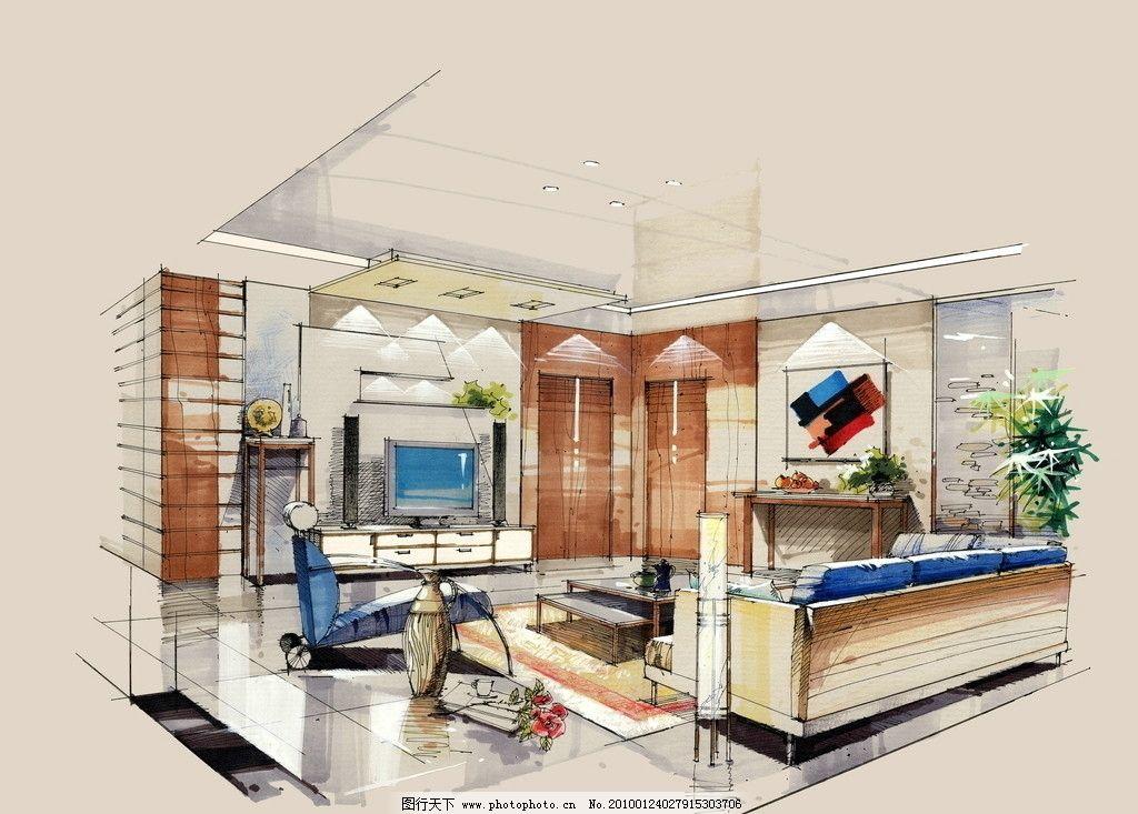 手绘效果图 室内      沙发 设计 手绘        环境设计 室内效果图