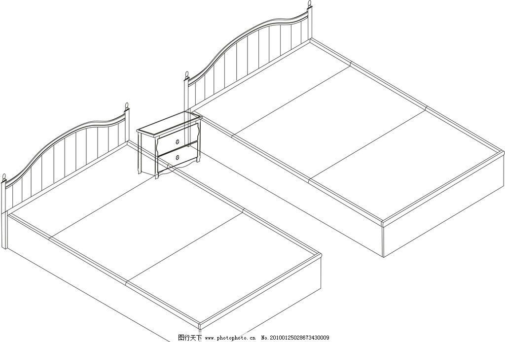 实木床 结构 家居家具 建筑家居 矢量 cdr