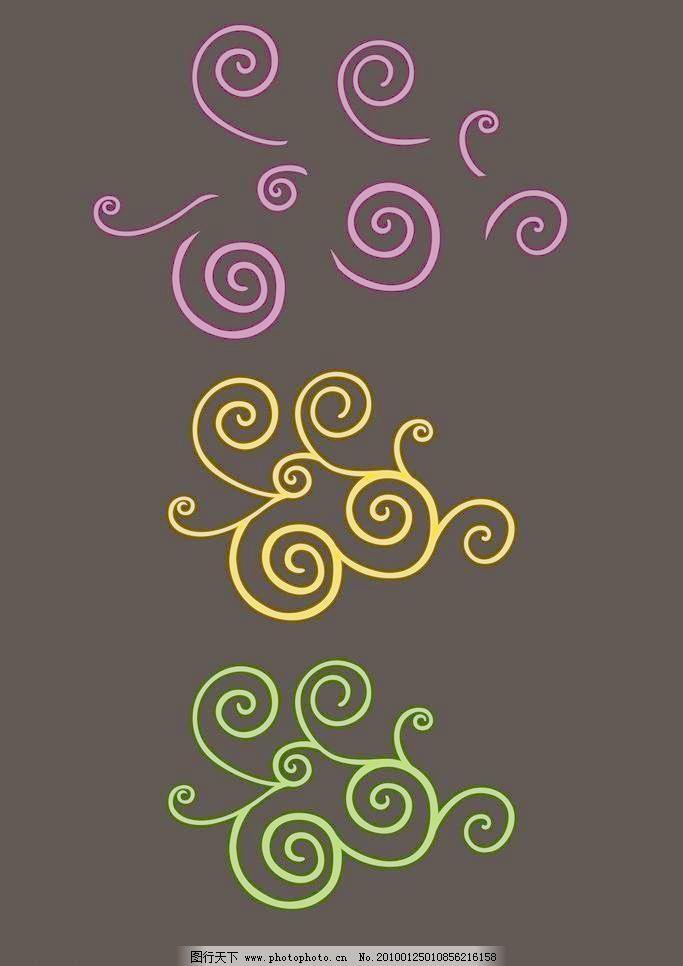cdr 分层 广告设计 花纹 黄色 可爱 绿色 欧式 漂亮 曲线 欧式曲线