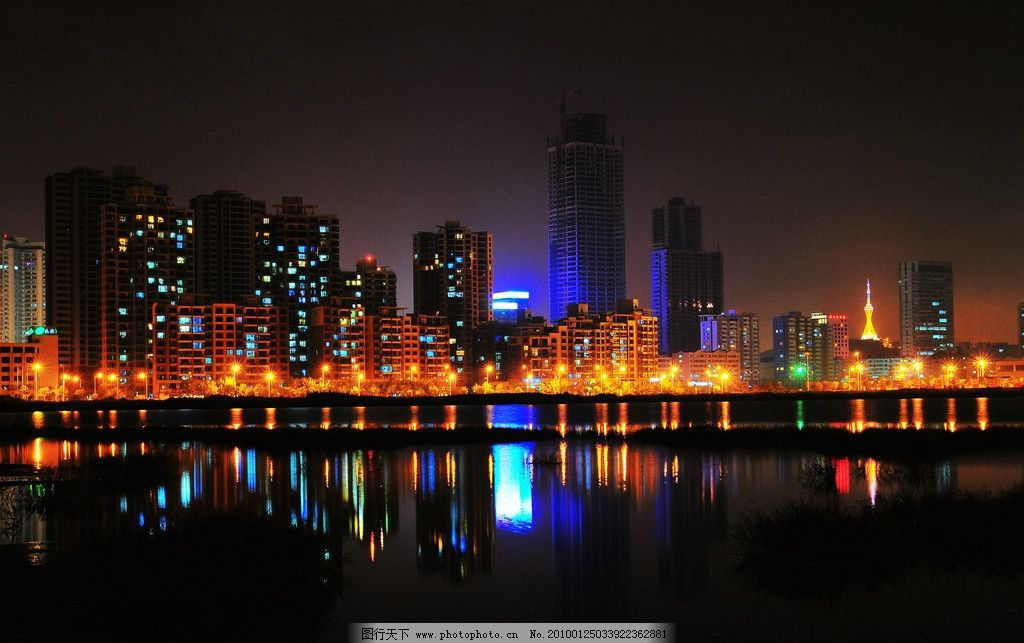 青岛开发区夜景 唐岛湾夜景 水 海 灯光 繁华 城市 国内旅游 旅游摄