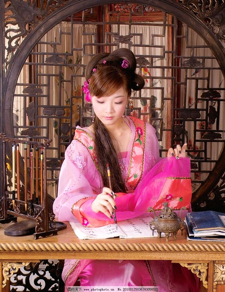古典美女 古书 毛笔 书写 毛笔架 影楼摄影类 人物摄影 人物图库