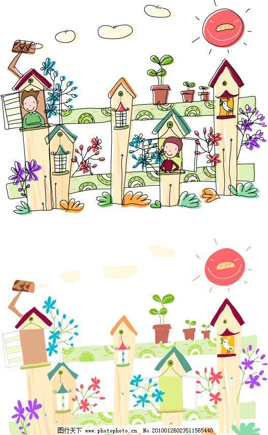 男孩 儿童画 稚气 手绘 铅笔画 涂鸦 小鸟 太阳 房子 花盆 花 高楼
