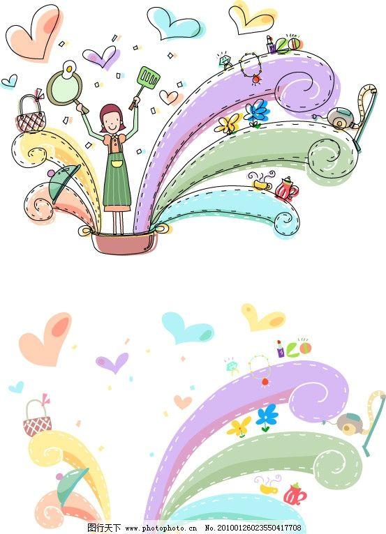韩国 矢量 ai 儿童 幼儿 小孩 孩子 女孩 儿童画 稚气 手绘 铅笔画 涂