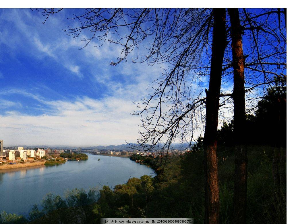 江西赣州 赣州 风光 河流 桥 楼房 堤坝 树木 自然风景 自然景观 摄影