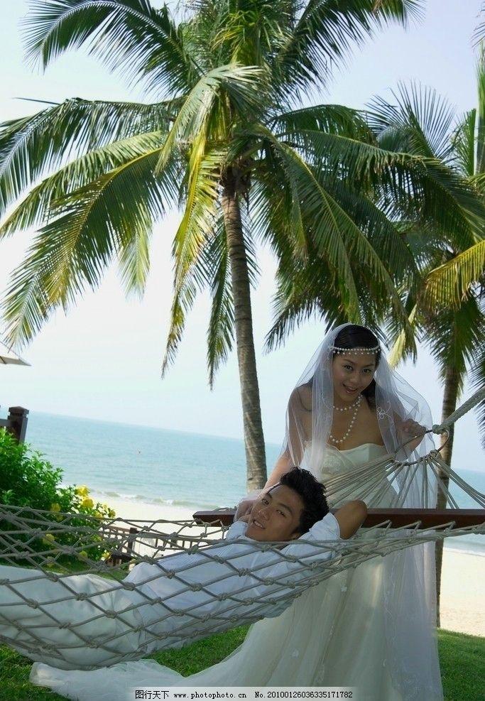 婚纱 帅哥 性感 浪漫 模特 椰子树 大海 人物摄影