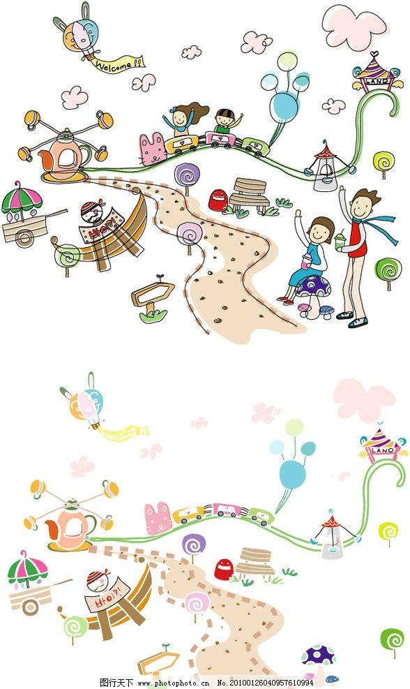韩国 矢量 ai 儿童 幼儿 小孩 孩子 女孩 儿童画 稚气 手绘 铅笔画