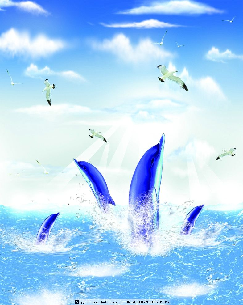 海豚 移门 大海 鸟 海鸥 鱼 蓝天 白云 梦幻 卡通 动漫 动画 动漫人物