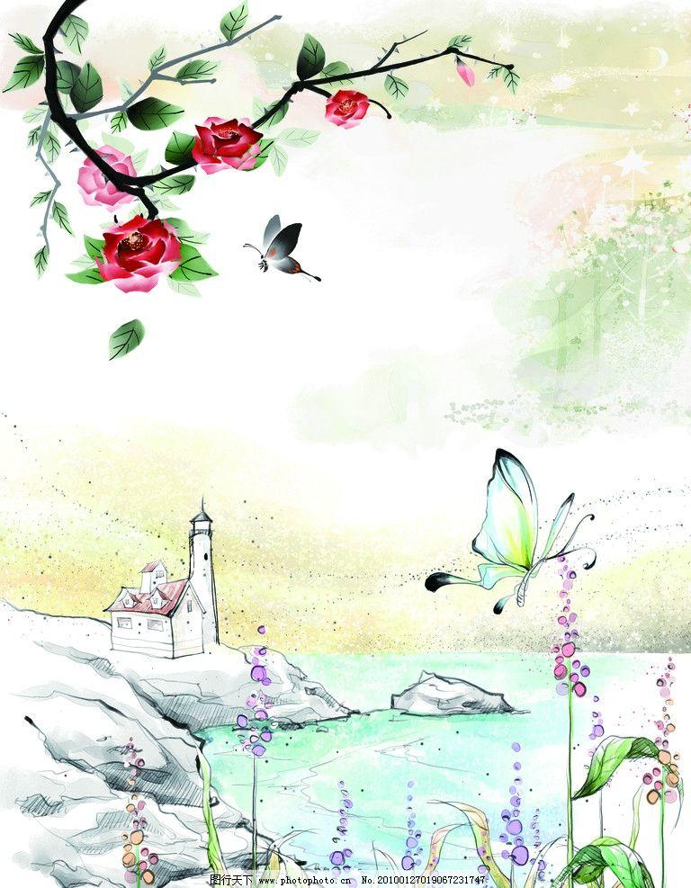 春红 移门 水墨画 蝴蝶 花 梦幻 绘画书法 文化艺术
