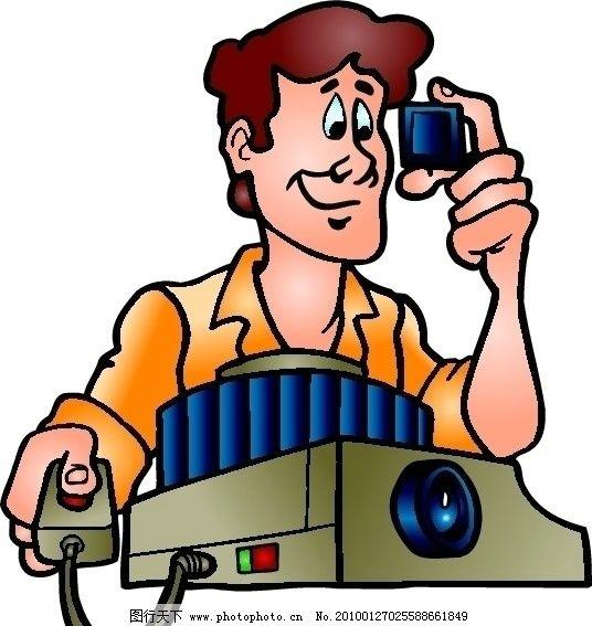 卡通人矢量相机图片