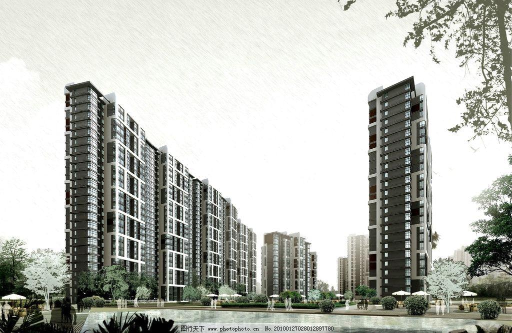 楼盘图片 建筑设计 高级住宅楼 高层建筑 房屋 楼房 树木 路 绿化
