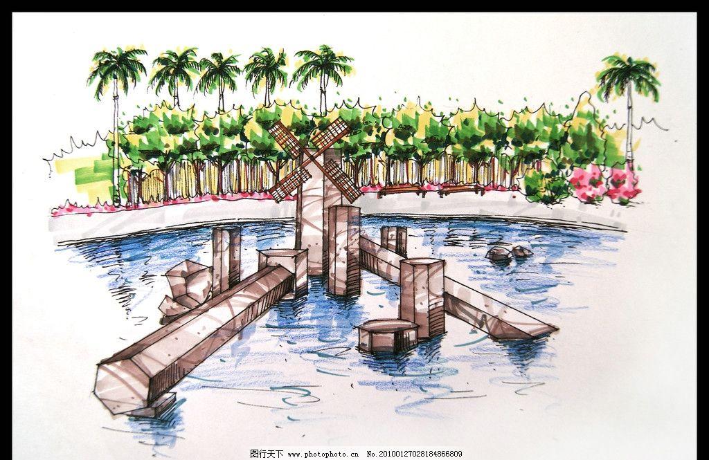 石头雕塑 手绘效果图 景观手绘效果图 室外手绘效果图 湖边的 湖中小