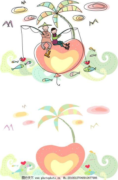 爷爷 儿童画 稚气 手绘 铅笔画 涂鸦 玩耍 快乐 高兴 欢乐 海鸥 海岛