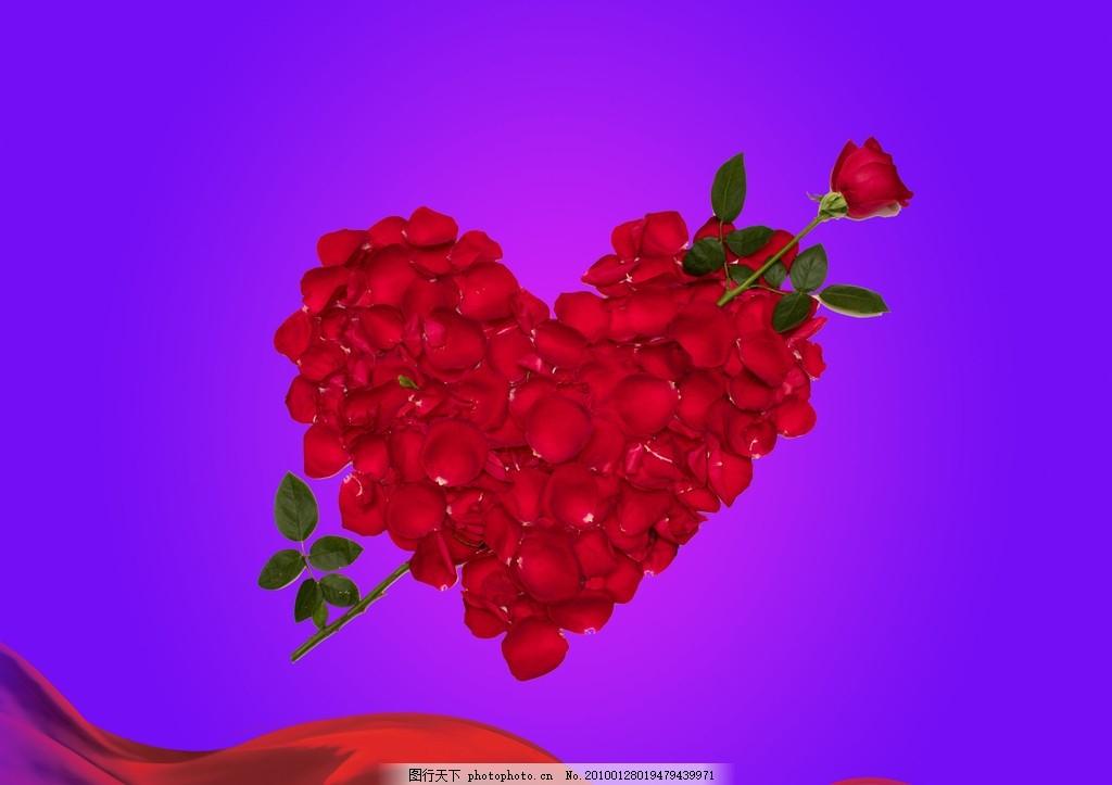红心花瓣玫瑰 情人节 浪漫 情人节元素 玫瑰花瓣心形图片素材 一箭