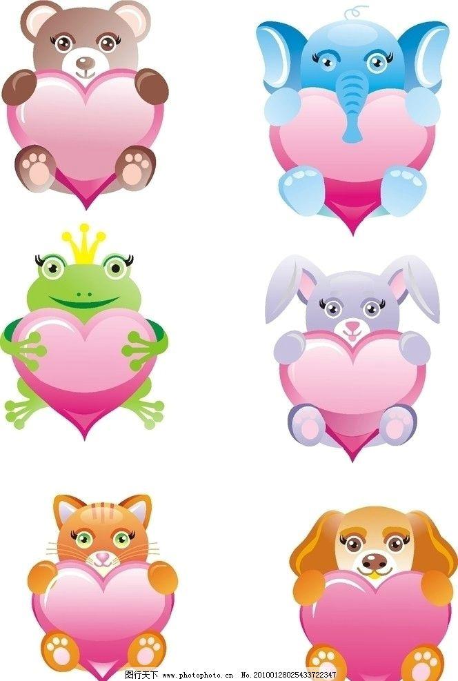卡通小动物 可爱小猫 可家小象 小兔子 青蛙 小熊 可爱矢量图图片