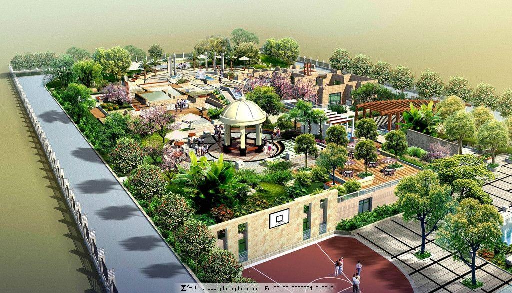 园林设计 园林景观 亭子 花园 广场 树木 路 绿化 草地 行人