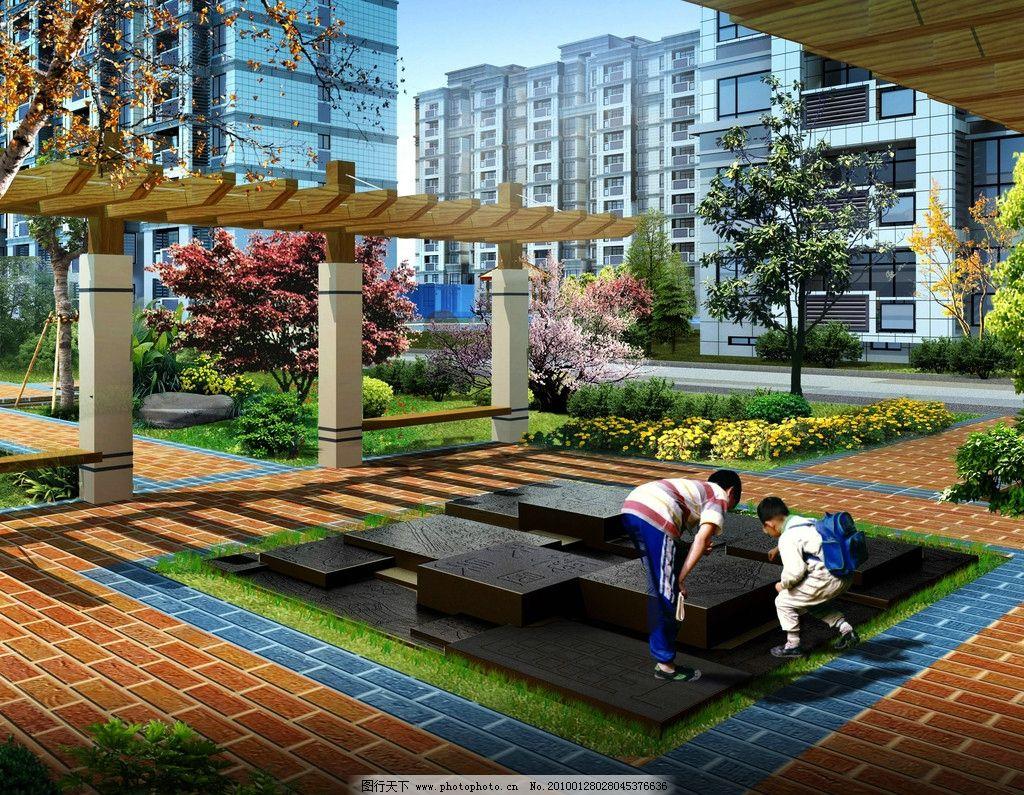 楼盘景观 建筑设计 高级住宅楼 住宅建筑 房屋 楼房 绿化景观 树木 路
