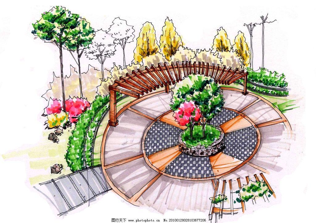 景观手绘效果图 室外手绘效果图 绿荫广场 休闲广场 景观设计 环境