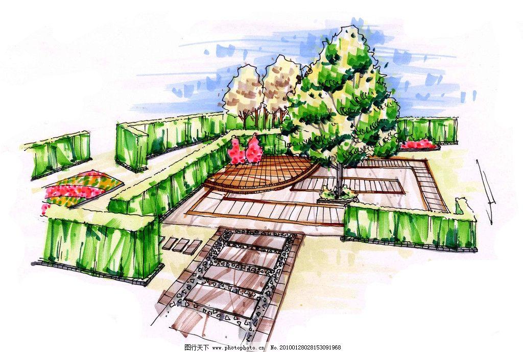 手绘效果图 景观手绘效果图 室外手绘效果图 草砖墙 大树 迷宫 景观