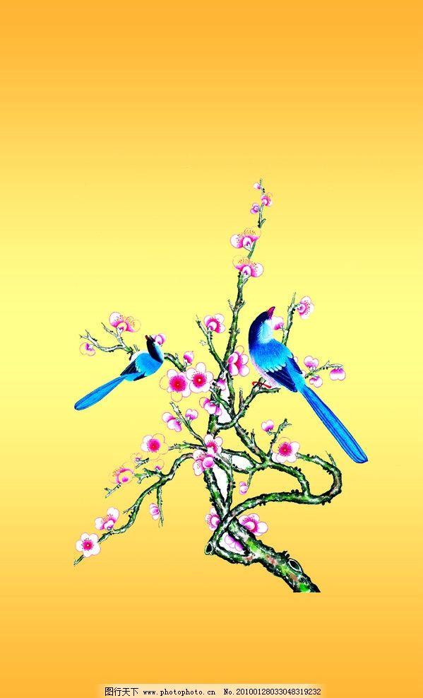梅花 红梅 树木 树 花 小鸟 psd分层素材 源文件 300dpi psd