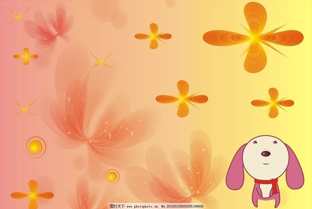 手绘小狗蝴蝶背景 可爱小狗 花朵 矢量图形 花纹 好看的节日背景