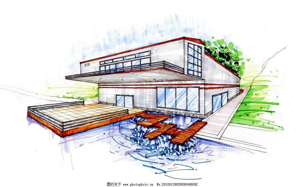 建筑手绘效果图 室外手绘效果图 学校饭堂 简约建筑 建筑设计 环境