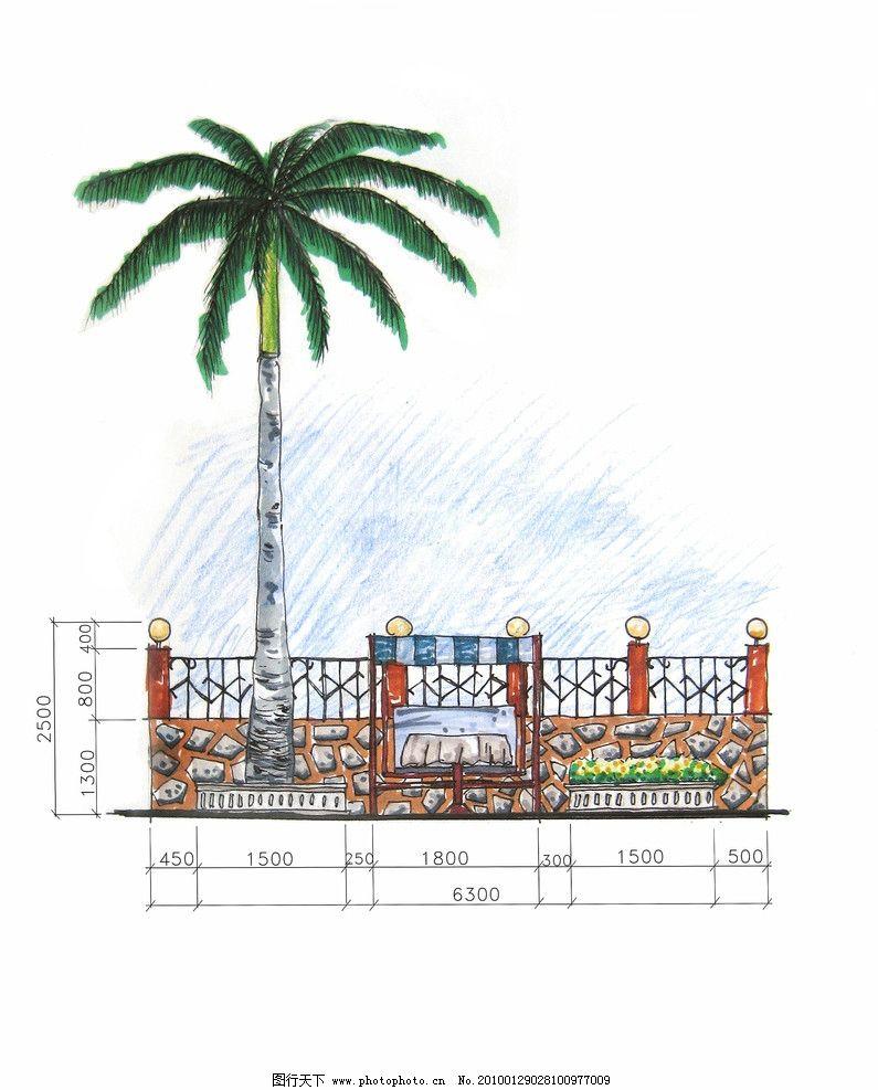 花园立面图 手绘图 立面图 景观立面图 室外立面图 花园立面效果图