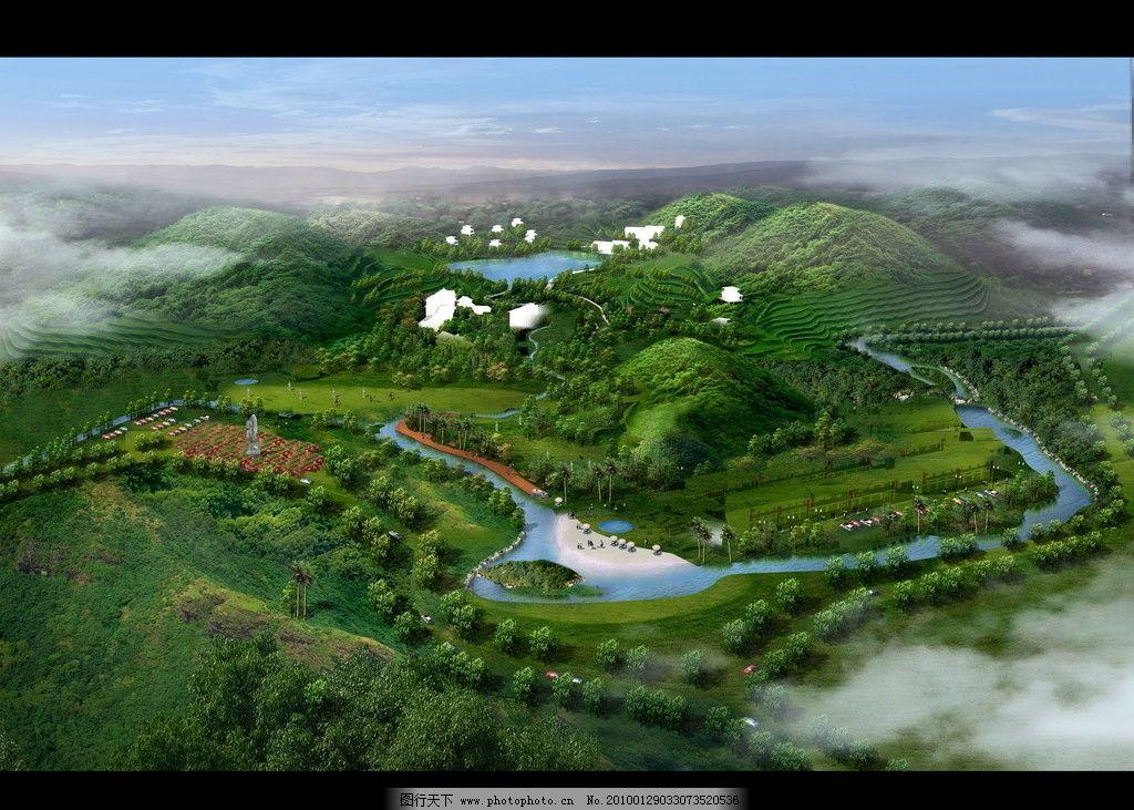 鸟瞰二 园林景观设计效果图psd素材 楼盘 住宅 小区 绿化 房地产设计