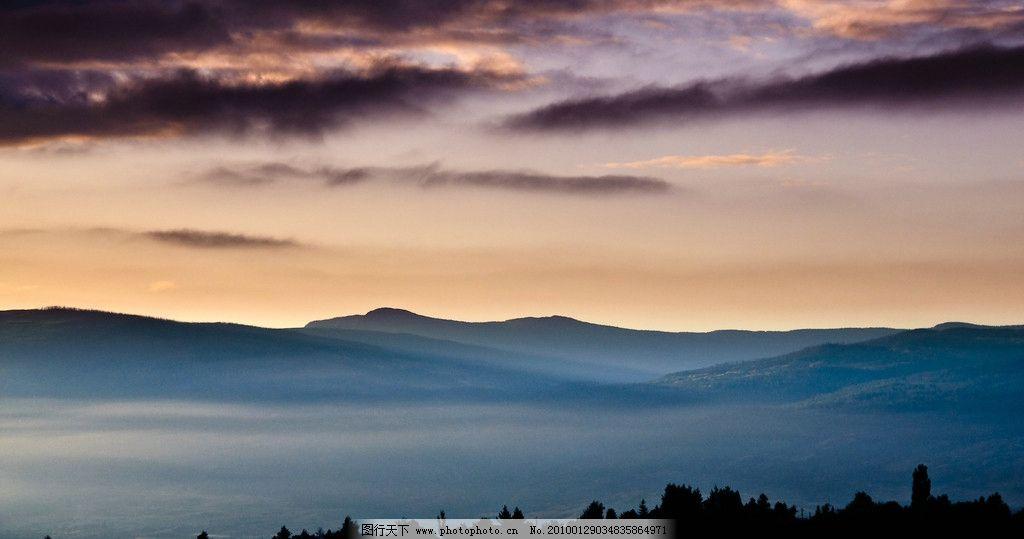 自然山水风光 云雾 群山 晚霞 美景 深山 摄影