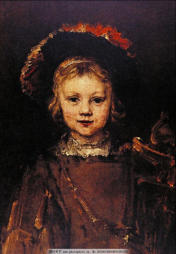 油画可爱小女孩图片