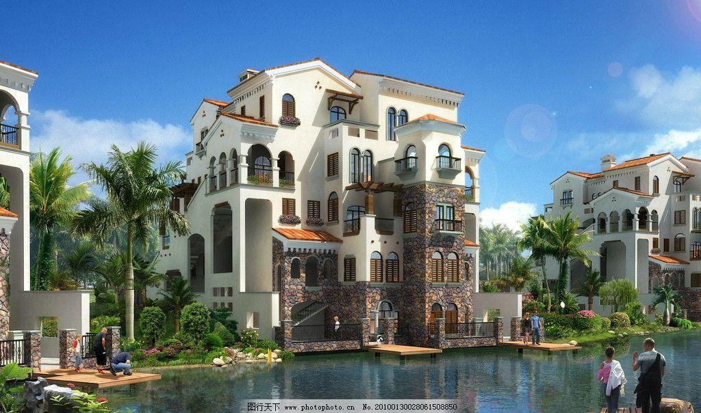 别墅 豪华别墅 建筑 西班牙风格 蓝天 红屋顶 树 窗户 阳台 玻璃 植物