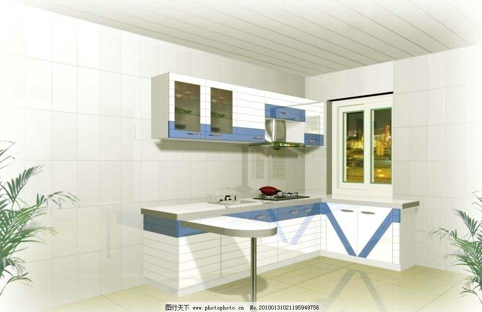 橱房效果图 橱柜 家装效果图 室内模型 厨房 餐厅 室内效果 厨房模型