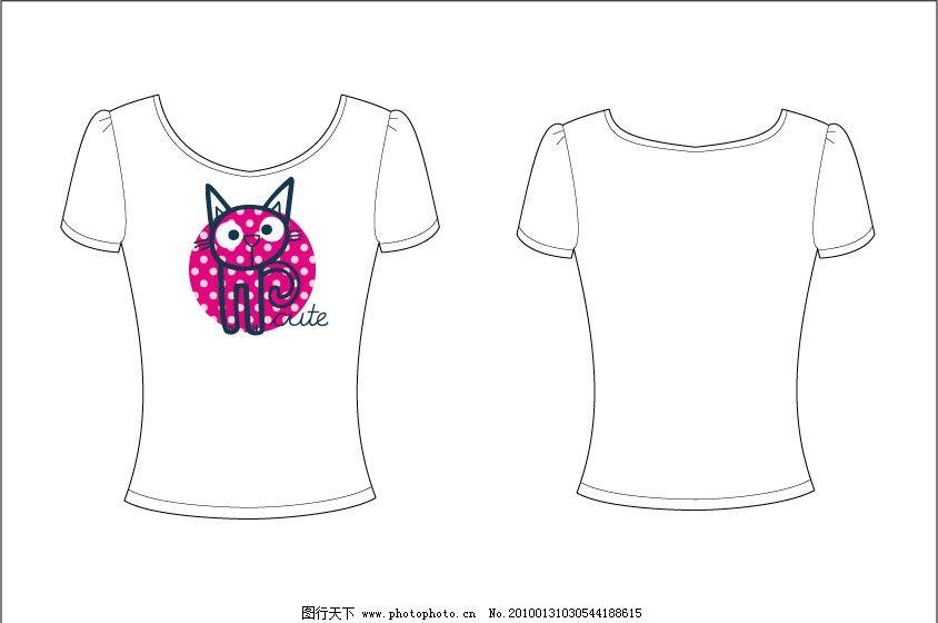 t shirt t恤 印花 可爱 服装 卡通 猫 图片