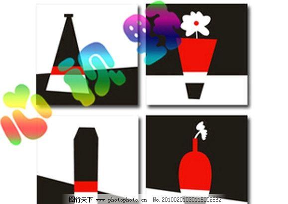 三色花瓶 装饰画 无框画 抽象画 卡通 动物 趣味 油画 鼠绘