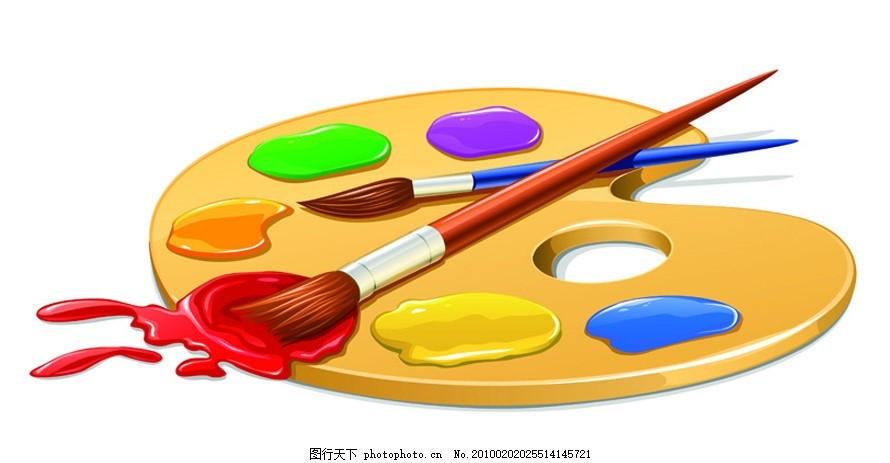 绘画工具用品矢量素材 画画 调色板 颜料 画笔 颜色 色彩