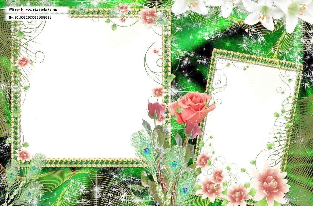 精美绿色百合花照片边框模板 白花 百合花边框 背景 边框相框 茶花