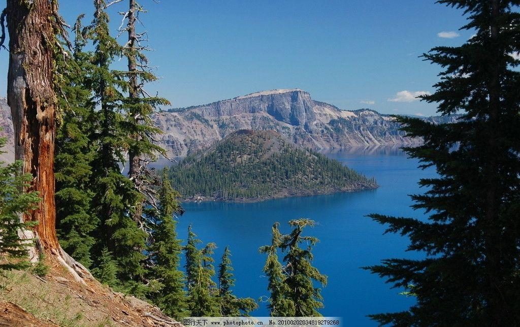 火山口湖 湖泊 火山口 国家公园 森林 松林 美国 俄勒冈州 风景 美丽